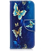 Galaxy J5 2016 Case, Bear Village® Painted Pattern Premium PU Leather Magnetic Wallet Case Cover with Kickstand and Card Holder ID Slot for Samsung Galaxy J5 2016 (#6 Butterfly)