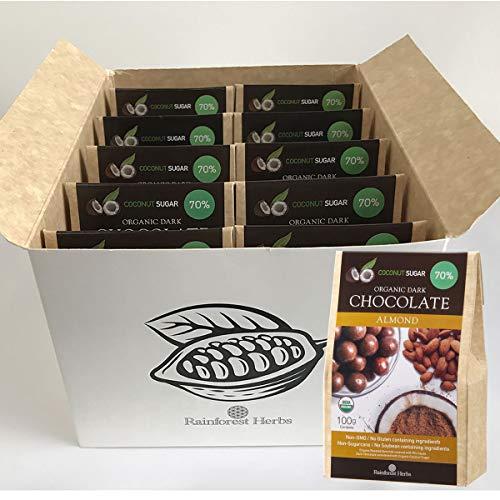 アーモンド オーガニックダークチョコレート ペルー産カカオ70% 有機ココナッツシュガー 100g 10個