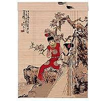 LIANGJUN 竹ロールスクリーン竹はウィンドウシェードを竹すだれ竹製カーテン印刷 パターン パーティション 通気性 カバーライト カーテン レストラン 廊下 - バルコニー (色 : B, サイズ さいず : 80x160cm)
