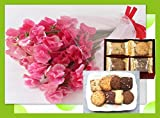 誕生日プレゼント レッド スイートピー と フーシェ クッキー詰合せ ギフトセット 還暦祝い・退職祝い・古希/メッセージカード付き