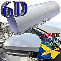 6dホワイト光沢Shinnyカーボンファイバービニール車デカールラップシートwithエアリリース 7ft X 5ft グレイ 6D