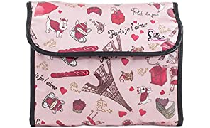 Dilly's Collections Hanging Flip Toiletry Cosmetics Travel Makeup Bag Carry Case for Woman Man Travel Organization Gift (Paris Je'Taime)