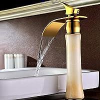 どのように-浴室水栓 バスルームのシンクの蛇口 - 滝状吐水タイプ 組み合わせ式 Ti-PVD センターセット シングルハンドルつの穴,アメリカとカナダ