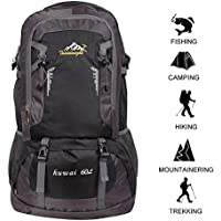 60 L Waterproof Lightweight Climbing Fishing Backpack Hiking Daypack,Internal Frame Backpack,Handy Foldable Camping Outdoor Backpack Bag (Black)