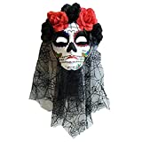 Day of Dead Womens Halloween Flower Crown Mask with Black Veil (Black and White) [並行輸入品]