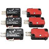 mxuteuk 6個125V / 250V 16A SPDTスナップアクションボタンマイクロリミットスイッチ、電子レンジ用ドアアーケードV-15-1C25