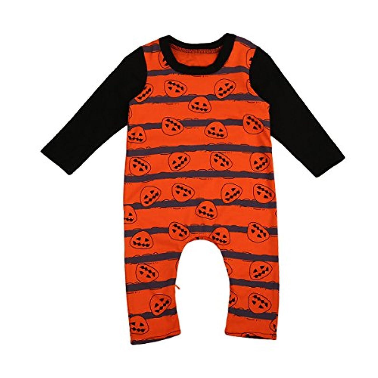 起訴する乗ってスケートカボチャのライトプリント ロンパース 女の子 赤ちゃん 長袖シャツ ストライプパターン ラウンドネックダウンスーツ ロングパンツ かわいい ハロウィンギフト 0-24ヶ月 (18-24ヶ月, オレンジ)