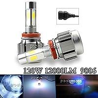 FidgetGear 車両LEDヘッドライト変換キットランプライト120W 12000LM 9006 3KイエローV 8
