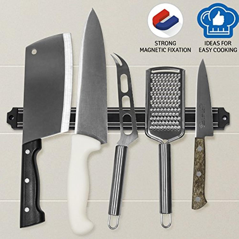 Tatkraft Magnet Black Magnetic Knife Rack Space Saving Knife Strip 13 X 1.3 X 0.6
