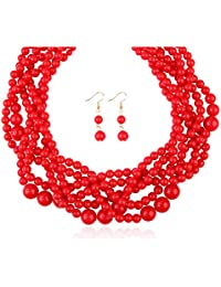 MYS Collection Women's Braided Beaded Bubble Statement Necklace - Multi Strand Colorful Bead Twisted Collar Necklace