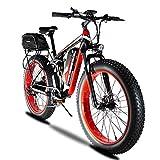 Extrbici XF800 マウンテンバイク アシスト自転車 750モーター 48V/13Ahバッテリー 26インチホイール シマノ7段変速 26X4.0雪道タイヤ 雪道 悪路 泥よけ付き 防犯登録可能 公道走行合法 (红)
