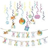 犬 動物誕生日飾り付け SUNBEAUTY 渦巻きハンギング HAPPY BIRTHDAY 誕生日ガーランド ベビーシャワー ハーフバースデー ホームパーティー飾り 写真背景 (セット01)