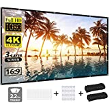 Projector Screen, vamvo 3-Layer Movie Screen pro, 120 inch 16:9 HD Anti-Crease Portable Projection Screen, Foldable Indoor Ou