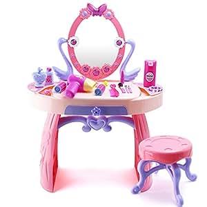 Easy Game ホームおもちゃ、シミュレーションABS安全材料キュートな王女ドレッサー音楽LED照明おもちゃ、ピンクのギフトボックス ピンク