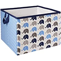 Bacati Elephants Storage Tote Basket, Blue/Grey, Large by Bacati