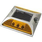iimono117 ソーラー自動充電 LED道路鋲 / 道路 照明 ポール 道路鋲 センターライン 縁石 反射板 視線誘導 合流帯 安全性 路肩鋲 車庫 (黄)