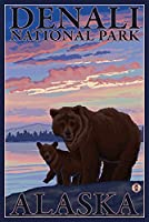 Bear and Cub – デナリ国立公園、アラスカ 16 x 24 Signed Art Print LANT-14258-709