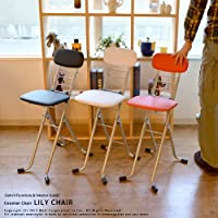【日本製】折りたたみカウンターチェア LILY(リリィ) (ナチュラル/シルバー)