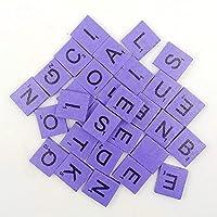 200pcs English Wood Letters A-Z Kids Learning Cognition Education Toy Games Scrabble Tiles Wood Craft Letters Word Tiles Wooden Letters Replacement Tiles Square letter For Scrapbooking (Purple) [並行輸入品]
