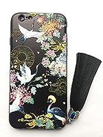 黒 鶴花 iPhone用 中国風スマホケース iPhoneXS Max 耐衝撃