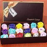 ローズソープフラワーハードフラワー型の長方形のギフトボックス造花ギフトボックス母の日バレンタインデー誕生日プレゼント先生の日記念日や他の最高の贈り物,color AIBOTY