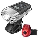 高輝度充電式自転車ライト 明るさ300ルーメン IPX4防水 ヘッドライト+テールライトセット