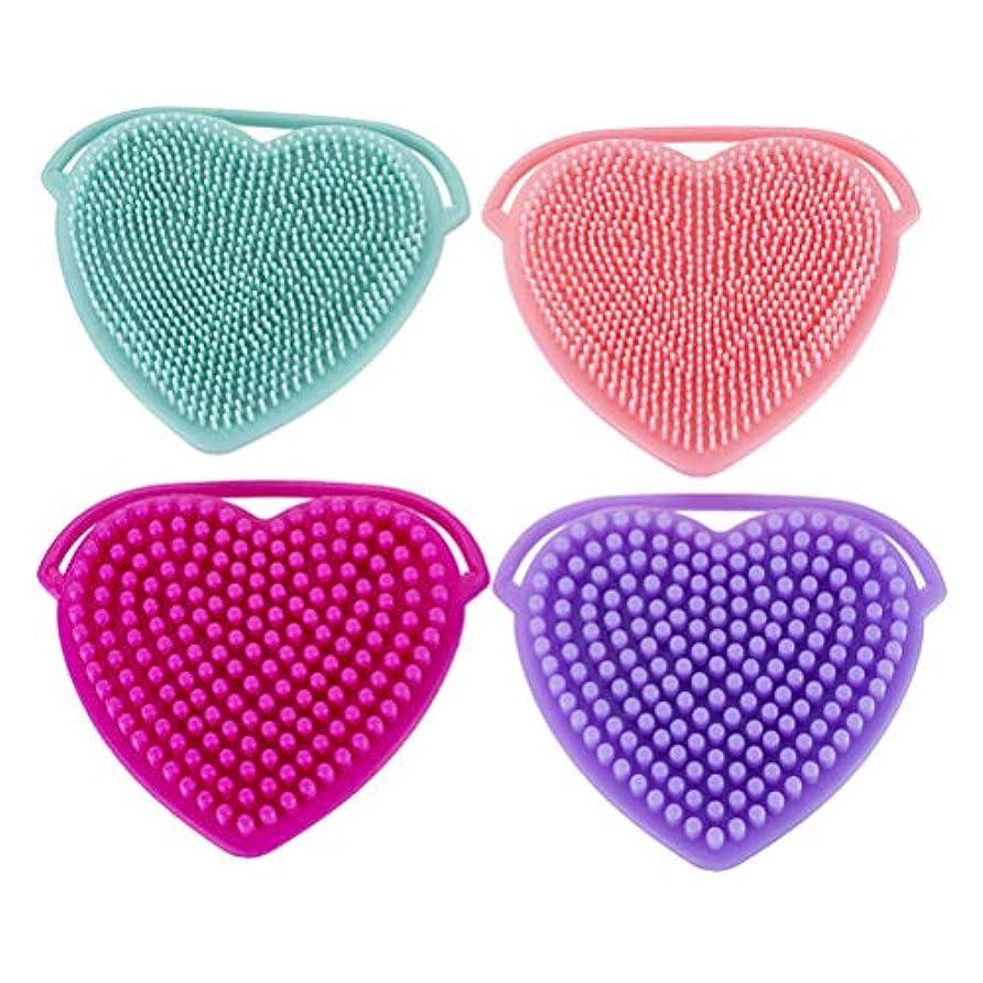 組み合わせるリネン洗剤Lurrose 4PCSシリコーンフェイシャルクリーニングブラシ手動フェイシャルマッサージブラシ女性用(図示)