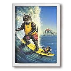 Kana-I ネコ サーフィン ネズミ 室内装飾 額入り絵画 壁に掛かる お祝いギフト 30×40cm