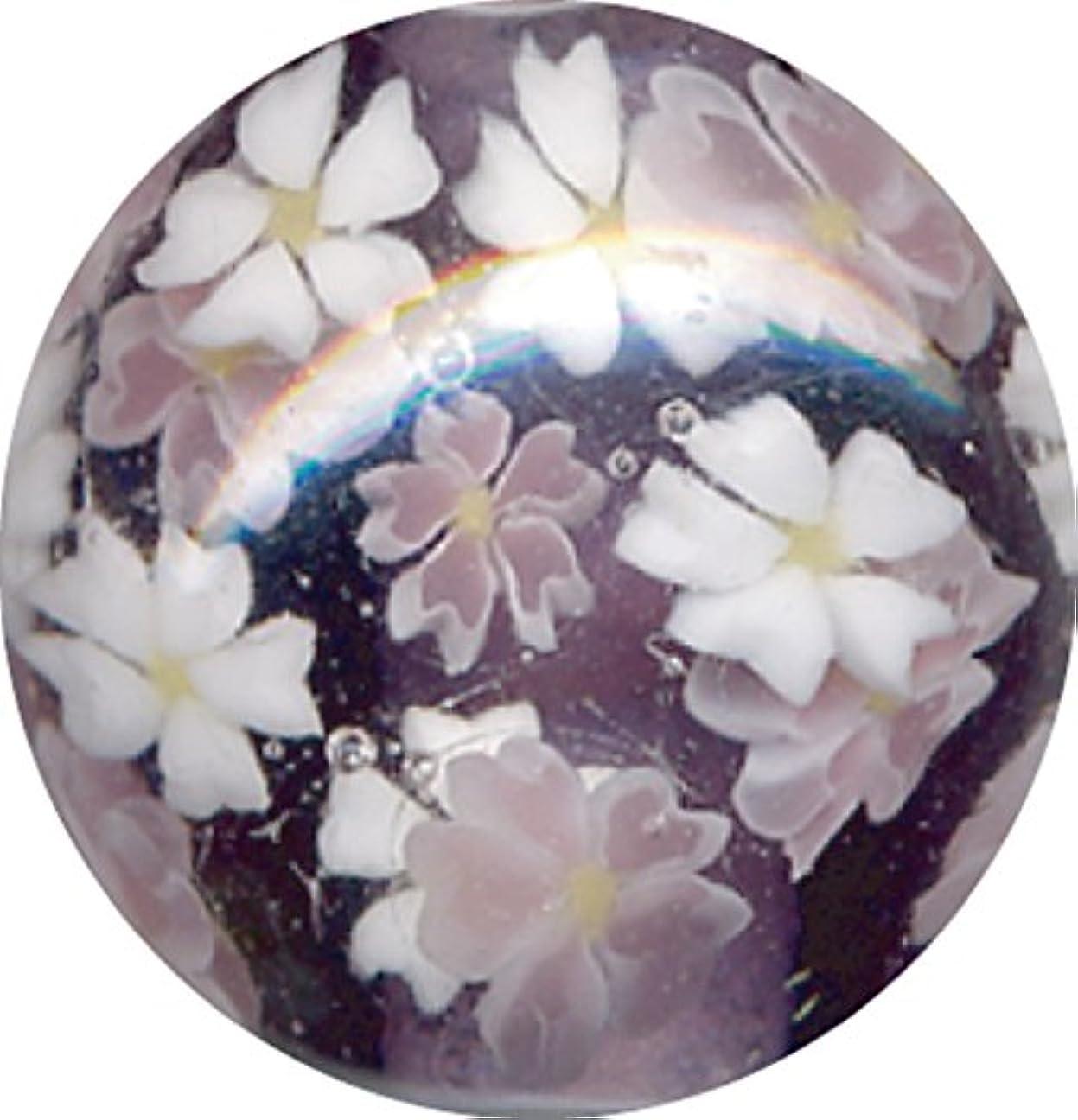 保持するヘッドレスシリンダーとんぼ玉 桜柄 紫
