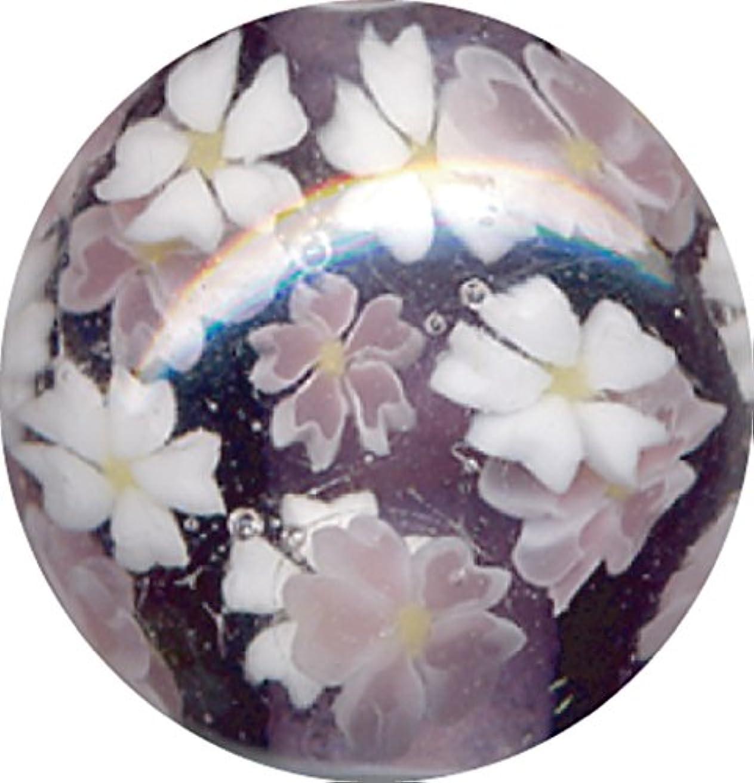 とんぼ玉 桜柄 紫