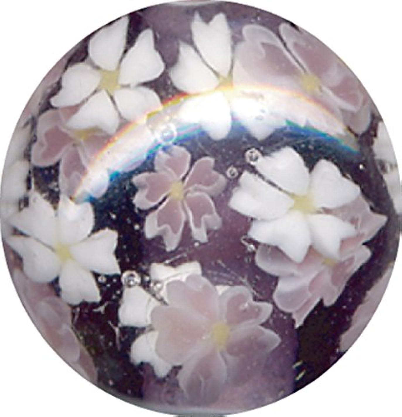 ビルマ美的梨とんぼ玉 桜柄 紫