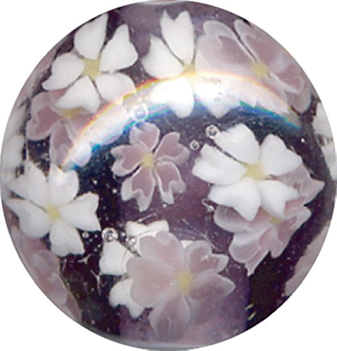 気づくネックレットトリクルとんぼ玉 桜柄 紫