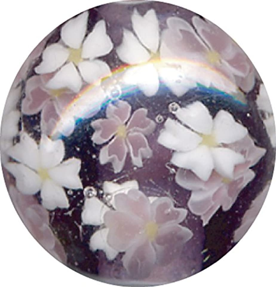 膿瘍頬ストライプとんぼ玉 桜柄 紫