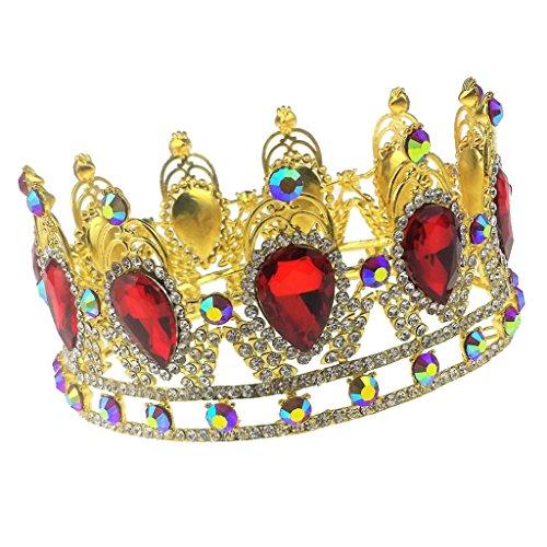 輝き クリスタル 王冠 ティアラ ヘッドバンド ロイヤル プリンセス 結婚式 花嫁 ヘアアクセサリー 全2スタイル - #1