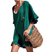 ACO Fashion V-Neck Cotton Beach Top/Swimsuit Cover Up,Green