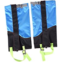 MagiDeal 1 Pair Outdoor Hiking Camping Walking Hunting Waterproof Snow Legging Gaiters Shoe Boot Cover - Sky Blue & Black