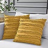 Longhui bedding Throw Pillow Cover, 80% Cotton 20% Linen, Yellow, 18 x 18