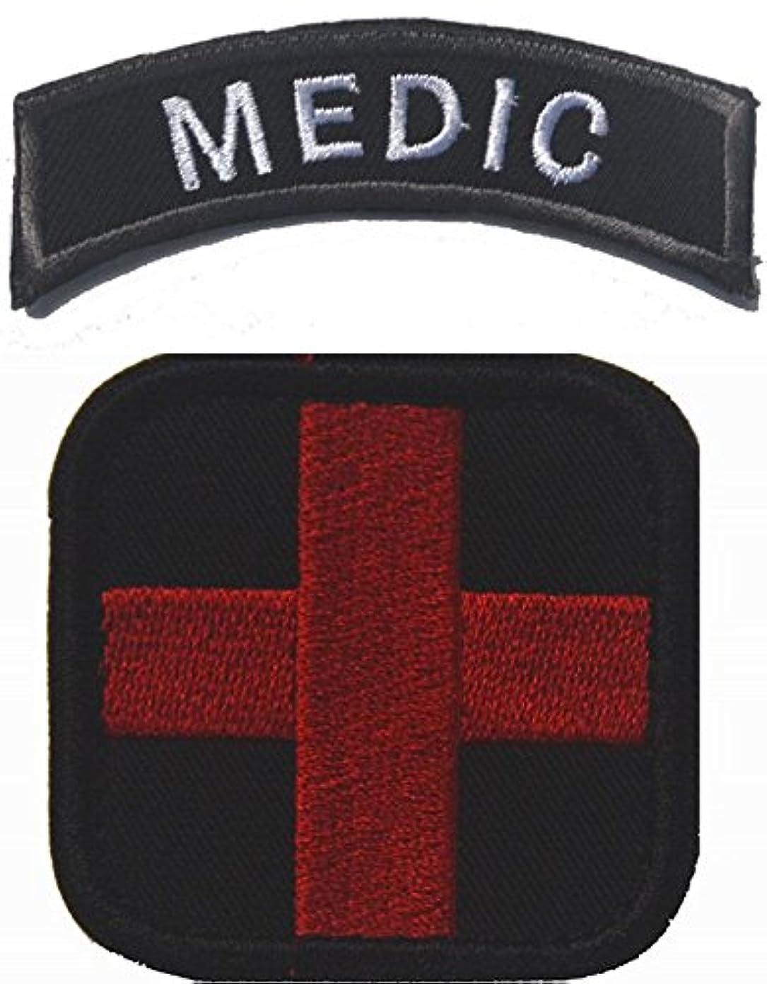 野望そこ処分した2点セット MEDIC メディック 着脱式 ベルクロワッペン (ブラック)