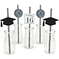 Silver Tassel Worth The Hassle - Graduation Party Straw Decor with Paper Straws - Set of 24 [並行輸入品]