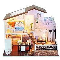 Tichan 3D木製DIYミニチュアハウス 家具LEDハウスパズル 創造的な贈り物 誕生日プレゼント