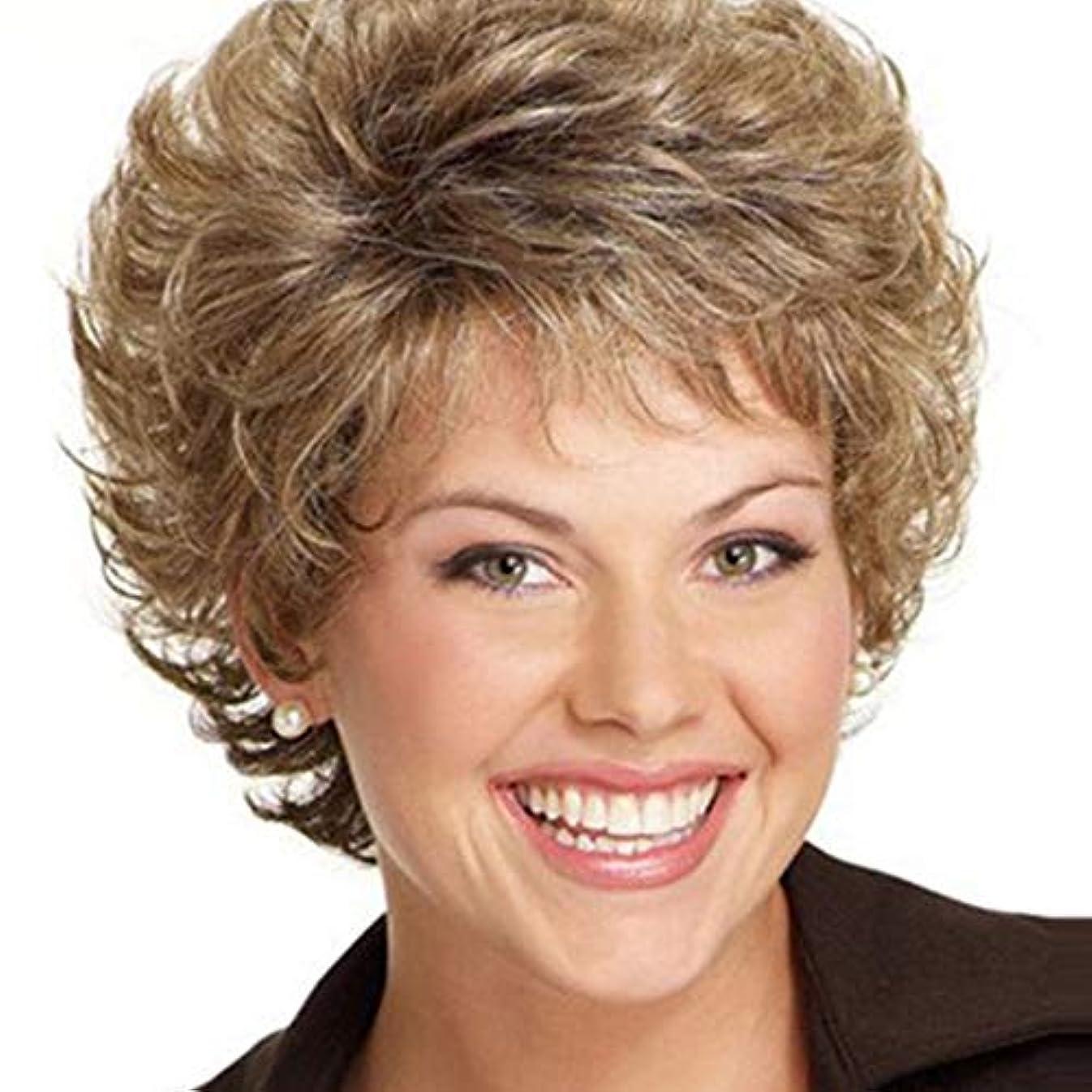 罪抗生物質予備WASAIO 女性のショートカーリーウィッグ合成ショートカーリーブロンドウィッグ (色 : Blonde)