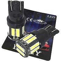 (ライミー)LIMEY 最新! 5W級 爆光 T10 LED バルブ ホワイト 白 ポジション ウエッジ SMD7020 10連×2SMD 20チップ搭載 6000K ナンバー ルームランプ 取説&保証書付 2個入 【ベース:黒】 L-T10W7020B2
