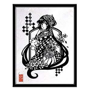 灯夜雪「ハイカラ少女」 切り絵アート 絵画 イラスト 額縁付き (A3)