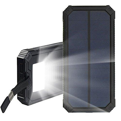 ソーラーチャージャー 12000mAh 大容量 2USB出力ポート モバイルバッテリー 軽量 ソーラーパネル 5V/2A 旅行 出張 ハイキング 緊急時にも適用 iPhone 6S iPad Galaxy S7 Nexus Xperia Aquos (ブラック)
