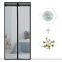 ANUO ドアスクリーン ハンズフリーマグネットカーテン、フルフレームベルクロモスキートスクリーンセルフシールネットカーテン フランスのドア用Black_28x79in/70x200cm