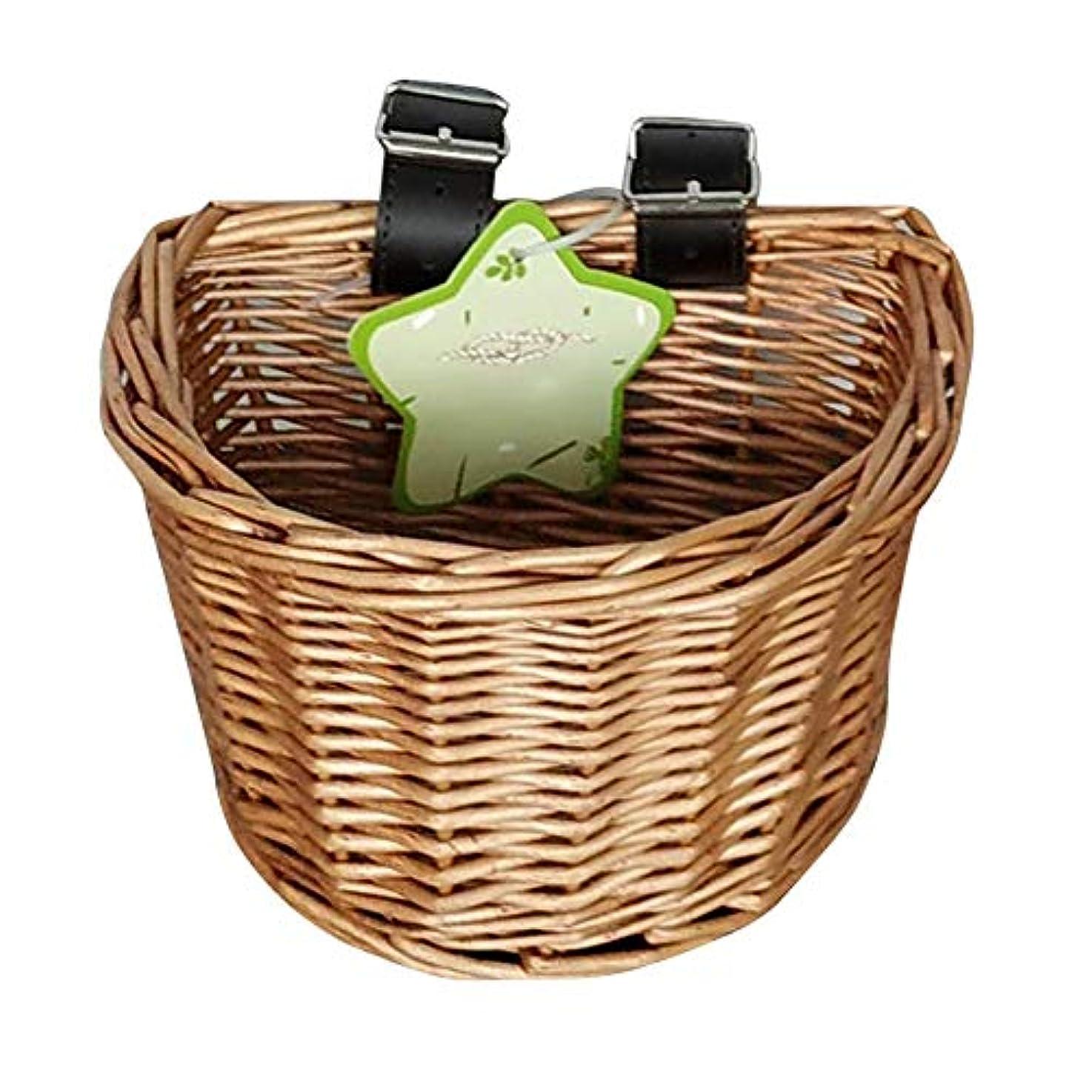 均等にストレススピーカー子供自転車かご バスケット 自然な藤材料 防水性 柔らかく 耐久 良い容器 人工織物製織技術 シンプル 寛大 ファッショントレンド