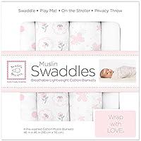 SwaddleDesigns Muslin Swaddle Blanket, Butterflies and Posies (Set of 4 in Pastel Pink) by SwaddleDesigns [並行輸入品]