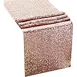 2パック 12インチ x 108インチ ローズゴールド キラキラ スパンコール プレミアム テーブルランナー プールパーティー 誕生日 宴会 ベビーシャワー デコレーション 家庭のお祝い アクティビティ