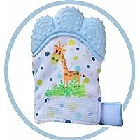 SOYARキリンベビー歯固めシリコン手袋、よだれ吸収し、手を噛んでいないように保護します、赤ちゃんの歯痛みを和らげます。3~12ヶ月対象(調節可能なベルクロストラップ付き)1個 (キリンブルー)