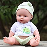 28cm baby doll Rotomolded PVC dolls baby bath toy belt voice-activated water dolls Lifelike Accompany Doll Toy Green